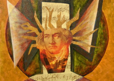 Homage to Beethoven painting collage acrylic
