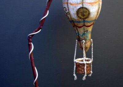 Balloon Above Paris mixed media