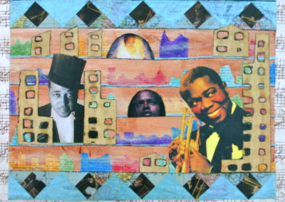 Duke and Satchmo painting collage acrylic