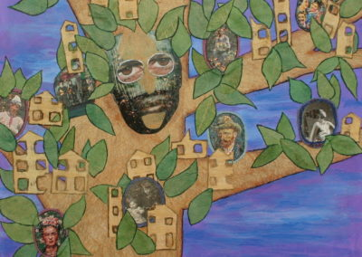 Family Tree painting acrylic collage