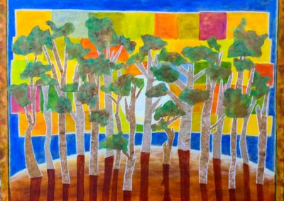 Forest Island painting acrylic collage
