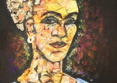 Frida painting acrylic collage