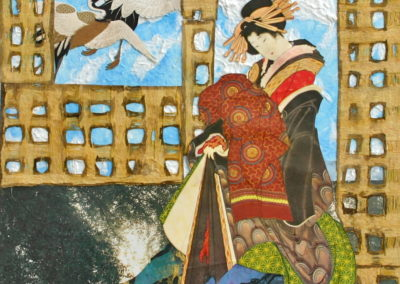Geisha and cranes collage
