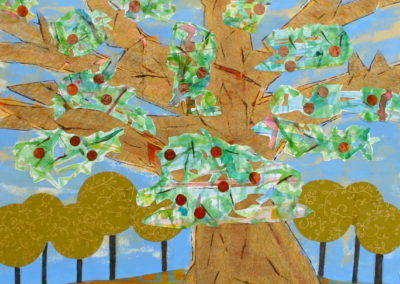 Apple Tree painting acrylic collage