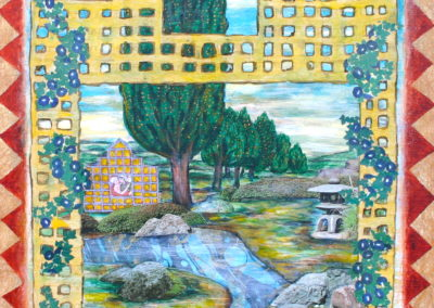 Peaceable Garden painting acrylic collage