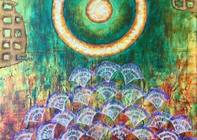Jewel in the Lotus painting collage acrylic