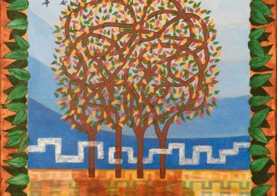 Acrylic collage Swallows Gardens